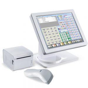 Faktura.CASH komplett Kassensystem. Kassensoftware auf einem AURES Kassen PC mit Bondrucker und Scanner