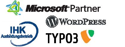 Logos als Partner von Microsoft, Wordpress, Typo3 und der IHK